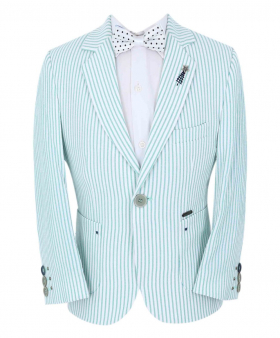 Boy's Striped Boating Slim Fit Blazer with accessories in Green front picture
