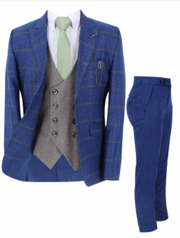 Boy's Windowpane Check Slim Fit Suit Formal 3 Piece Set in Blue front picture
