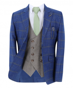 Boy's Windowpane Check Slim Fit Suit Formal Jacket and double-breasted waistcoat  in Blue with accessories open front picture
