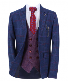 Boy's Windowpane Check Slim Fit Suit Formal Jacket and double-breasted waistcoat  in Navy Blue with accessories open front picture