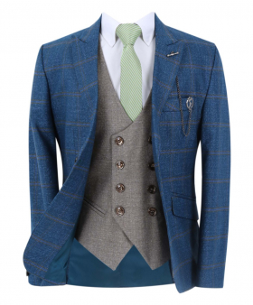 Boy's Windowpane Check Slim Fit Suit Formal Jacket and double-breasted waistcoat in Petrol Blue with accessories front open picture