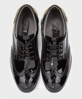 Boys Black Patent Formal Wedding Dress Brogue Shoes top picture