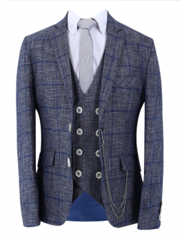 Boys Blue Check Slim Fit Suit Formal jacket and double-breasted waistcoat with accessories in Grey front picture