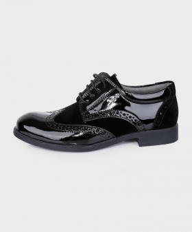 Boys Brand New Patent & Suede Black Formal Brogue Shoes