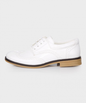 Boys Brand New Patent White Formal Brogue Shoes