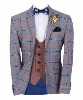 Boys Burgundy Windowpane Check Slim Fit Suit Formal Jacket and waistcoat with accessories in Blue front picture