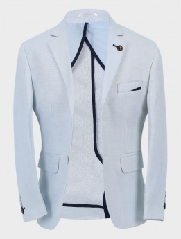 Boys Casual Linen Tailored Fit Blazer in Ice Blue Front picture