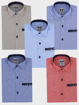 Boys Casual Oxford Dotted Slim Fit Long Sleeve Shirt multi colour front picture