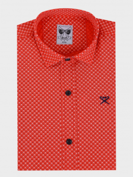 Boys Casual Slim Fit Long Sleeve Pattern Shirt in Red Front Picture