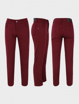 Boys Casual Stretch Boys Chino Pants in Burgundy three side picture