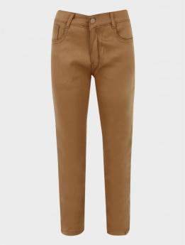 Boys Casual Stretch Chino Pants in Khaki Brown front picture