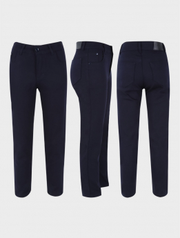 Boys Casual Stretch Chino Pants in Dark Navy Blue  three side picture
