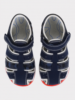 Boys Casual Trekking Sandals in Navy Blue pair front picture