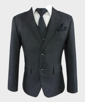 Boys Charcoal Grey Tailored Fit Textured Complete Suit
