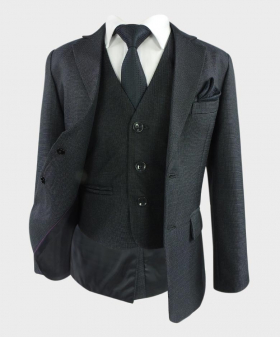 Boys Charcoal Grey Tailored Fit Textured Complete Suit-Open