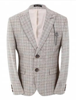 Boys Check Slim Fit jacket in beige front picture