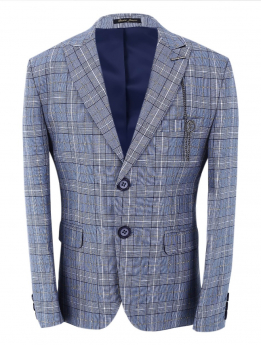 Boys Check Slim Fit Blue Jacket in blue front picture