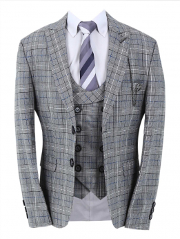 Boys Check Slim Fit Jacket and matching waistcoat with accessories in grey front picture