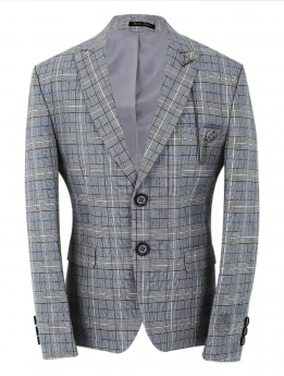 Boys Check Slim Fit Jacket in grey front picture