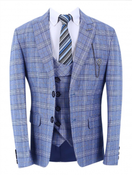 Boys Check Slim Fit Jacket with double-breasted waistcoat and accessories in Light Blue front picture