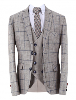 Boys Check Slim Fit Suit Formal jacket and double-breasted waistcoat with accessories in Beige front picture