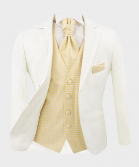 Boys Communion Tailored Fit white suit jacket with shirt gold waistcoat  matching cravat and hankie open front picture