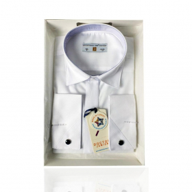 Boys Classic Collar  Cufflink Shirt in White front picture