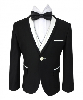 Closed view of the Blazer Smoking Jacket from Boys Exclusive Black & White Single Button Tuxedo Suit