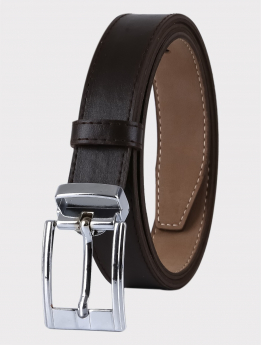 Boys Faux Leather Dark Brown Belt front pictures