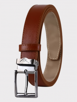 Boys Faux Leather Light Brown Belt Front picture