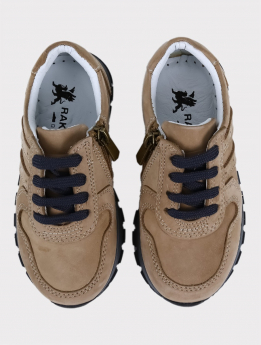 Boys Genuine Leather Casual Shoes in Beige  pair front picture