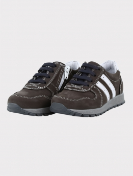Boys Genuine Leather Casual Shoes in Brown pair side picture