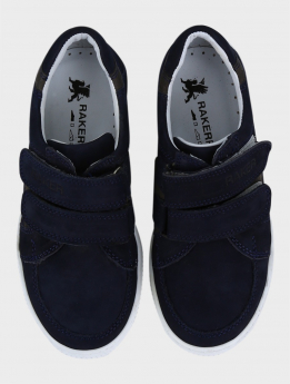 Boys Genuine Leather Casual Sneaker Shoe in Navy Blue and Grey pair front picture