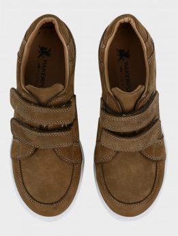 Boys Genuine Leather Casual Sneaker Shoe in Tan Brown pair front picture
