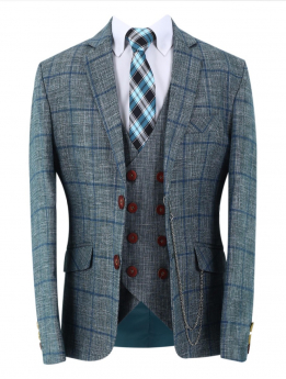 Boys Herringbone Check Slim Fit Suit Formal jacket with double-breasted waistcoat and accessories in Dark Green front picture