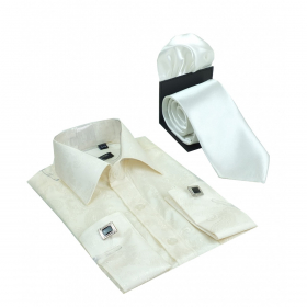 Boys Ivory Long Sleeve Cuffling Shirt with Tie and Hankie