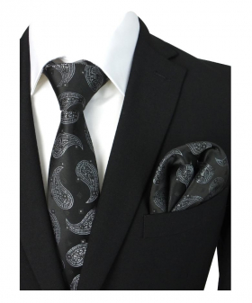 Boys & Men Paisley Formal Dress Tie and Hanky Set in Black and White For Weddings and Special Occasion with Shirt and Suit Jacket