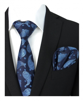 Boys & Men Paisley Diamond Printed Formal Dress Suit Tie and Hanky Set in Navy and Blue for Special Ocassions with shirt and jacket