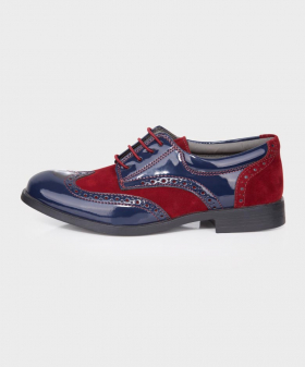 Boys Navy and Burgundy Patent Suede Brogue Shoes