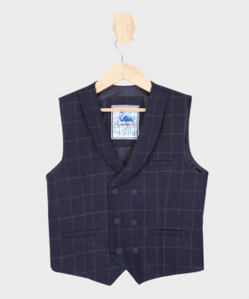Boys Navy Blue Tweed Check Double Breasted Casual Occasion Dinner Waistcoat