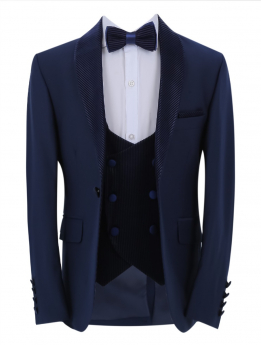 Boys Page Boy CommunionTuxedo Slim Fit Jacket with double-breasted waistcoat and accessories front open picture