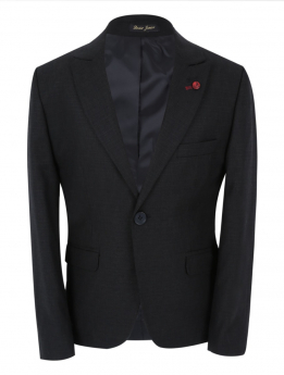 Boy's Check Slim Fit Suit Formal Jacket in the Black front picture