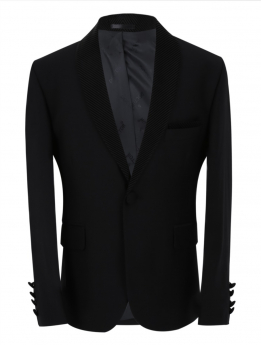Boys Page Boy Tuxedo Slim Fit Jacket in Black front picture