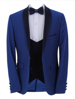 Boys Page Boy Tuxedo Slim Fit jacket and double-breasted waistcoat with accessories open front picture