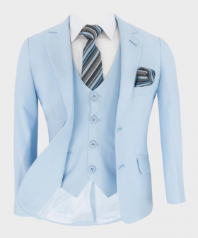 Boys Pageboy Tailored Fit Suit in Light Blue 6 piece set with shirt and accessories front open picture
