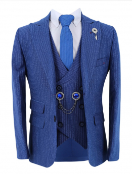 Boys Pinstripe Slim Fit Suit Vintage  jacket and double-breasted waistcoat with accessories  in royal blue front picture