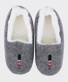 Boys Plush Slippers for Winter in Grey Front Picture