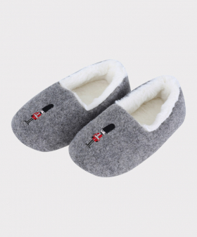 Boys Plush Slippers for Winter in Grey Side Picture