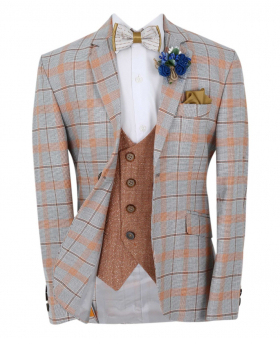 Boys Slim Fit Orange Windowpane Check Formal grey Jacket and  brick orange  double-breasted waistcoat with accessories front picture
