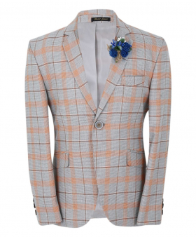 Boys Slim Fit Orange Windowpane Check Formal Jacket in grey with orange-brown check and a blue flower brooch front picture